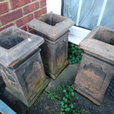 Georgian or Edwardian Square Chimney Pots  - Grey/Buff Colour - 3 available