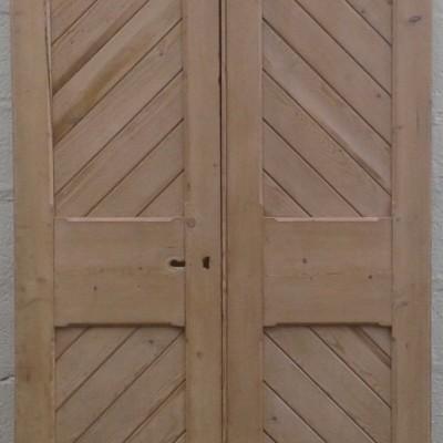 Pair of Victorian ex-church double doors in pine.