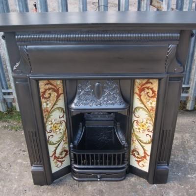Original Victorian cast iron tiled combination grate