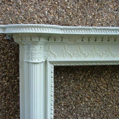 Large painted late 18th century pine and gesso chimneypiece
