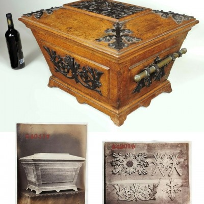 Benham and Froud, Coal box Cellarette Documented 1870 Gothic revival antique 19thC wine cooler