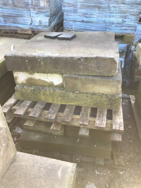"""500 foot of reclaimed stone copings approx  17"""" wide by 3 foot long"""