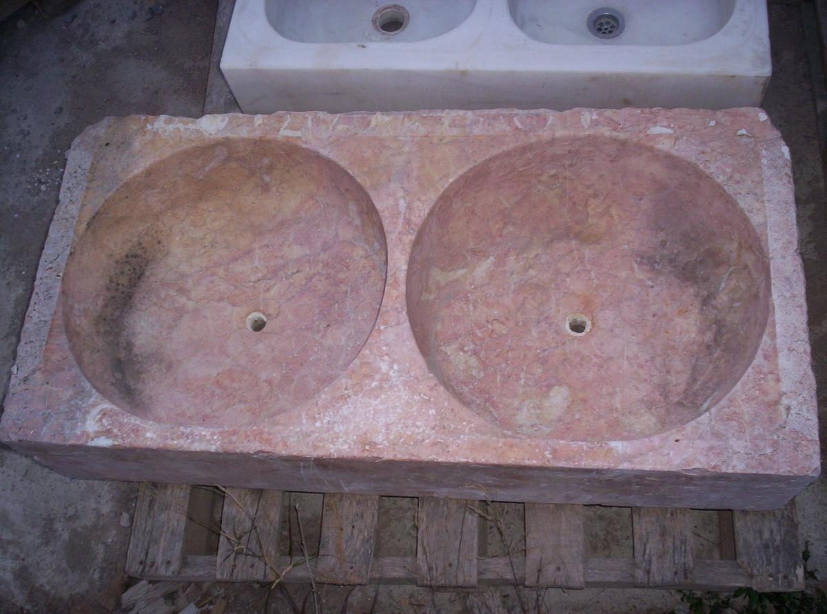 Large antique marble double bowl sink