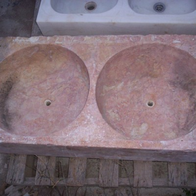 Large antique marble double bowl sink
