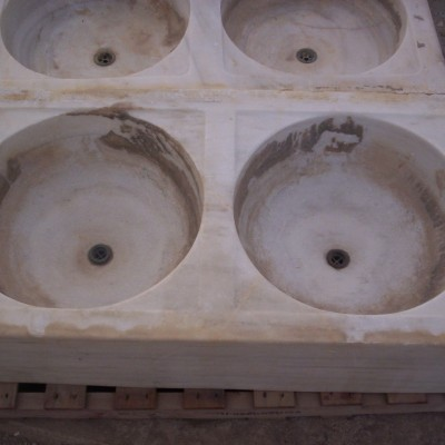 Antique Carrara marble double bowl sink