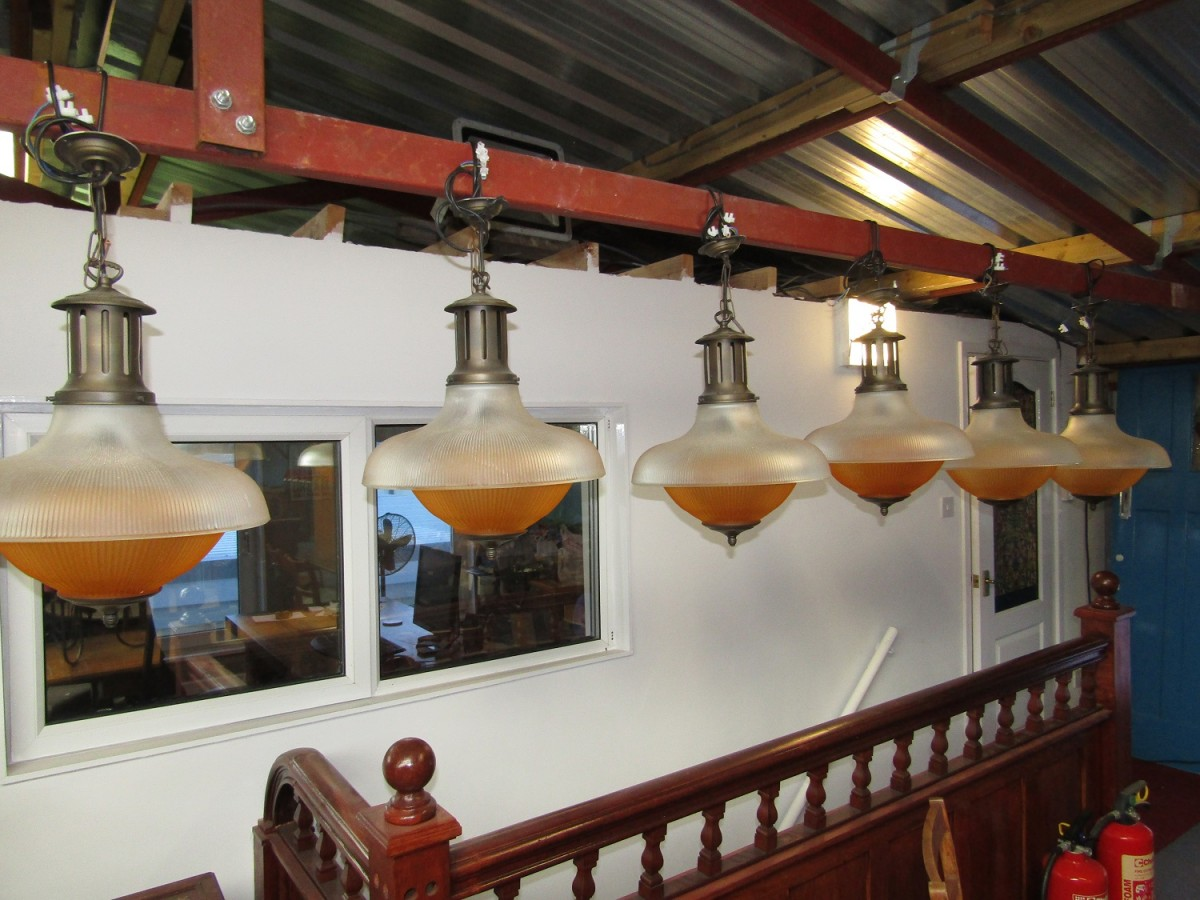 Large holophane type Pendant Light Fitting (one of 6 available).