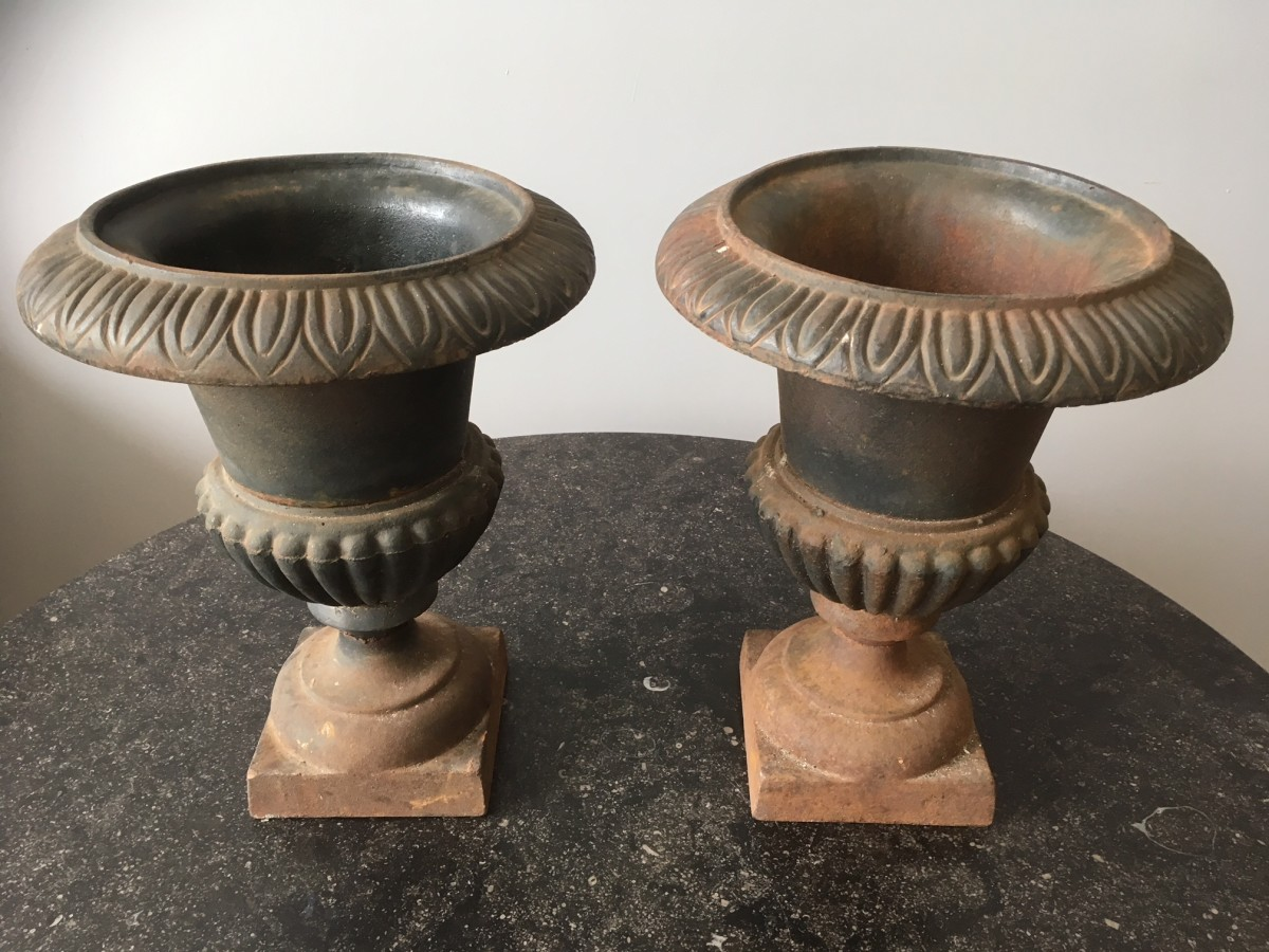 A lovely pair of Medici urns