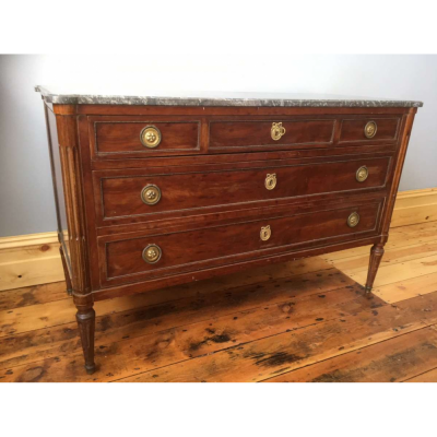 French mahogany three-drawer Louis XVI style commode