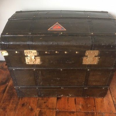 Large leather and pine travel chest