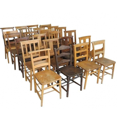 Batch of Reclaimed 25 Stacking Chairs and Church Chairs - Require Repairs