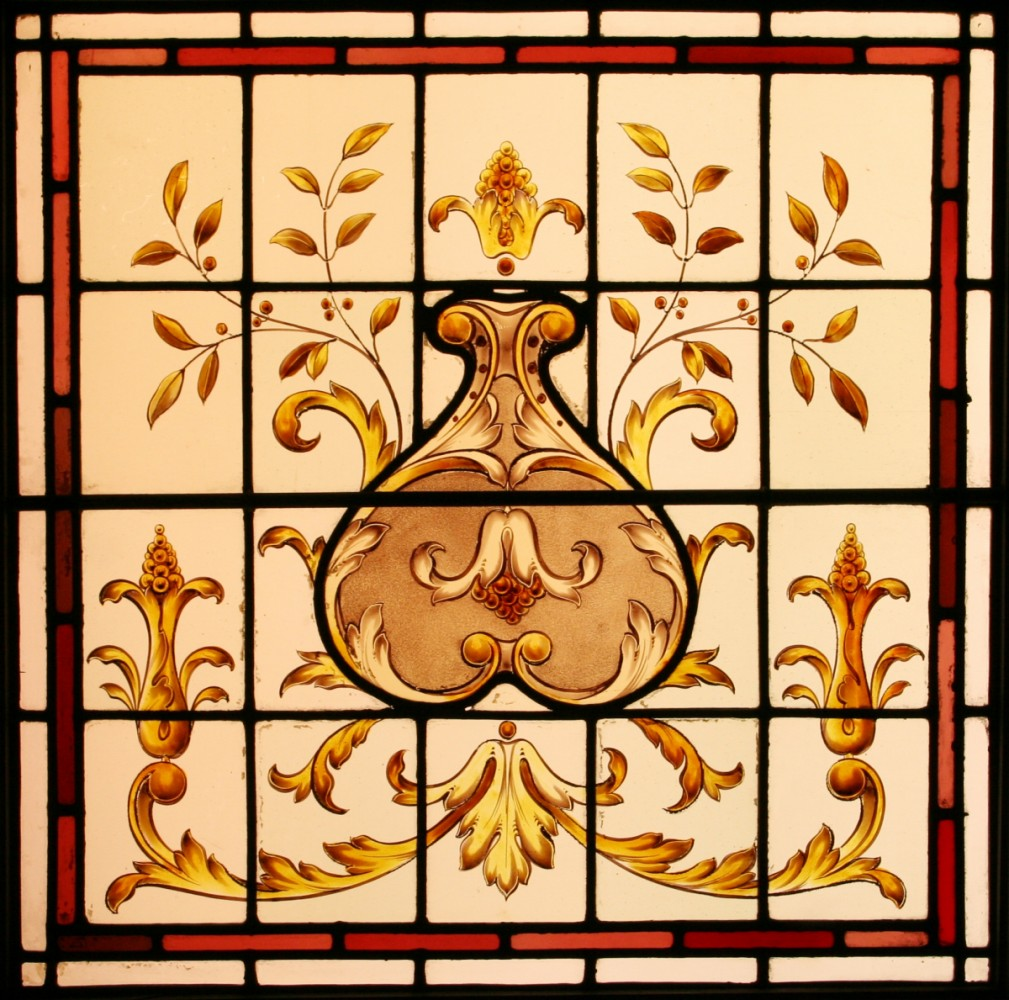 Edwardian Hand Painted Stained Glass Window