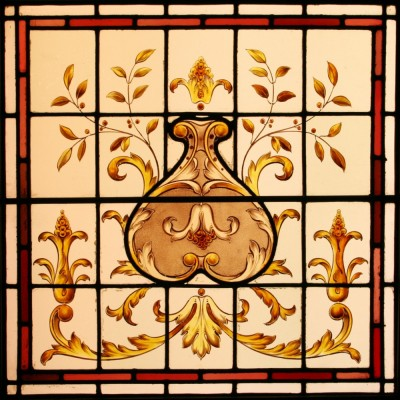 Antique Stained Glass Window – Acanthus Leaves & Flowers