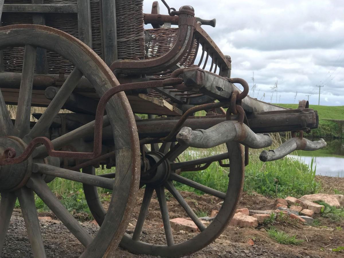 Carriage farm vintage large wooden cart