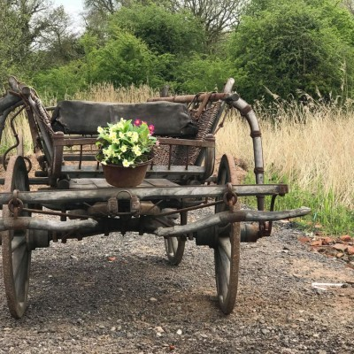 Carriage farm vintage large wooden cart