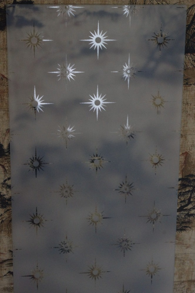 2 NEW panes toughened Victorian LOVELY repro glass 245 x 965 x 4mm etched in Bright Star for 4 panel door