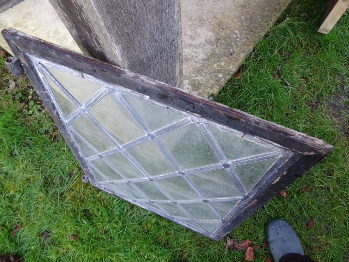 Diamond leaded light window in steel frame for restoration.