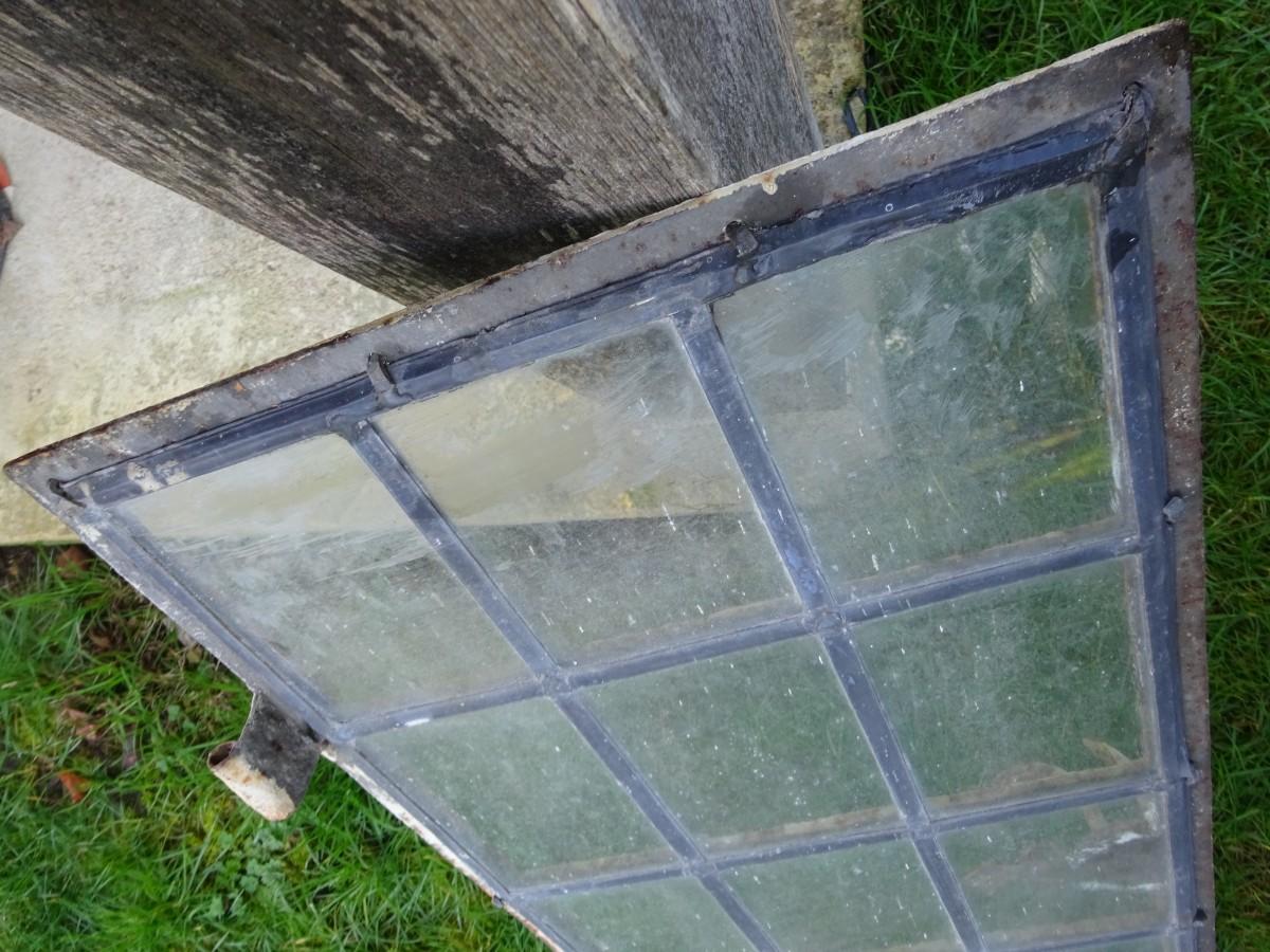 Leaded light window on steel frame for restoration