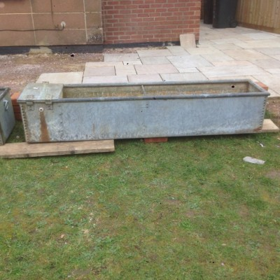 Pair galvanised troughs