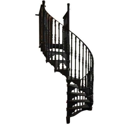 Antique Black Cast Iron Spiral Staircase & Landing by Elite