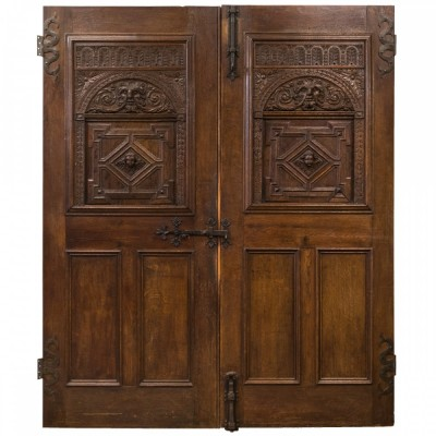 Mid 19th Century hand-carved oak double doors