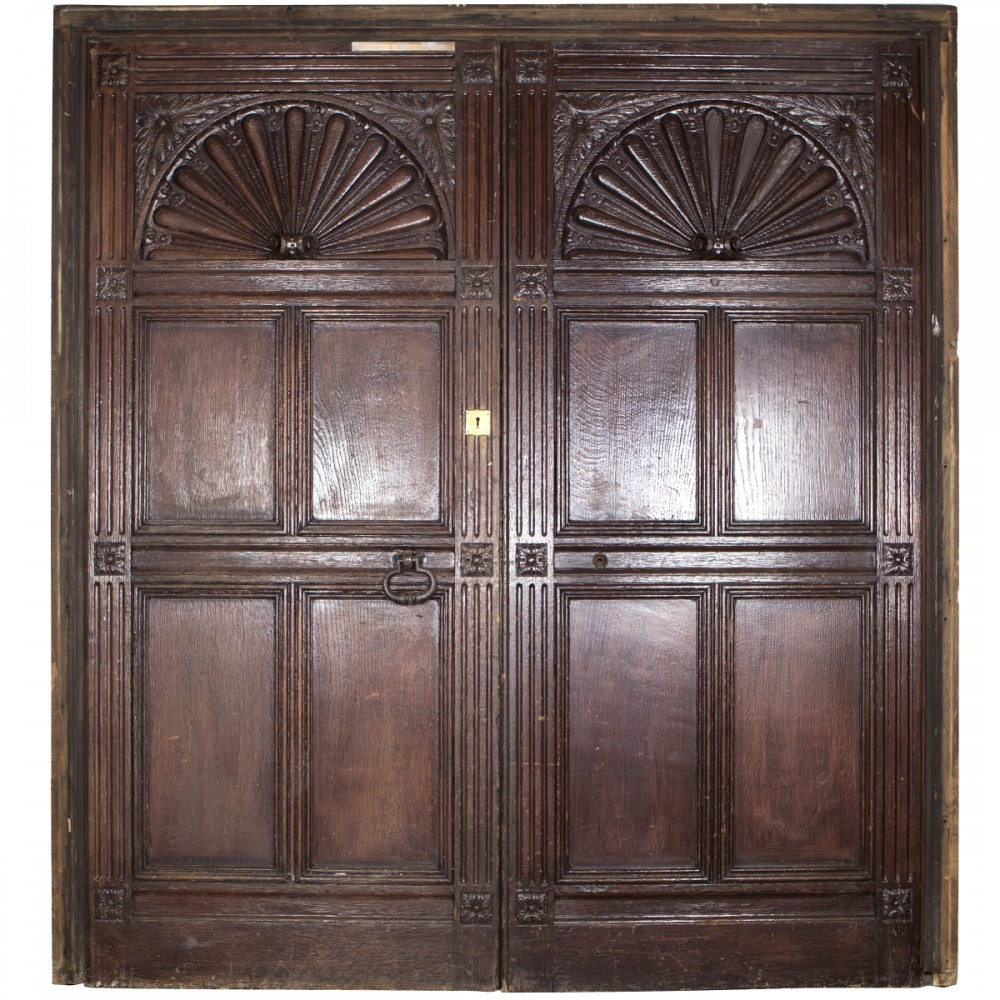 Carved Wooden Tudor Style Double Doors with Frame