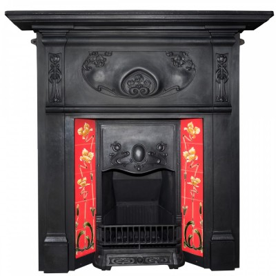 Art Nouveau Cast Iron Combination Tiled Fireplace