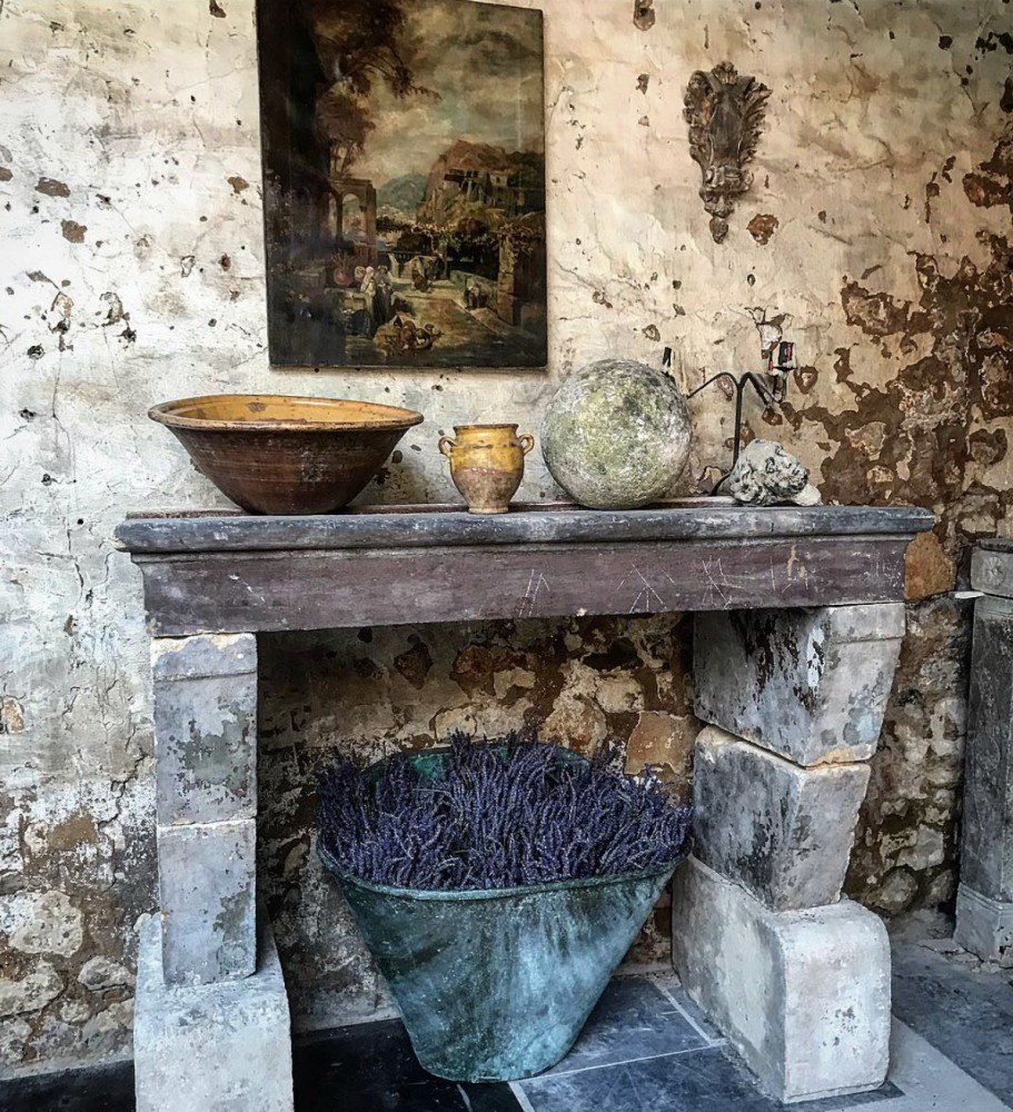 Antique Stone Kitchen Fireplace