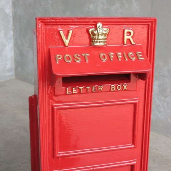 Royal Mail Letter Box.Antique Royal Mail Vr Cast Iron Wall Mounted Letter Box