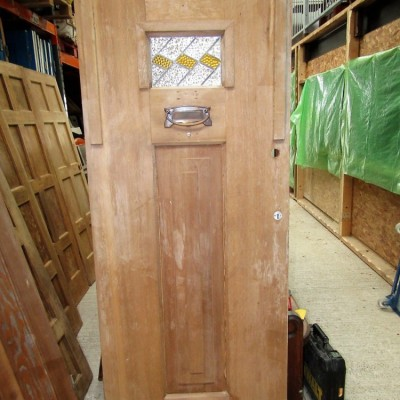 Art Decor 1930's Stained Glass Pitch Pine Front Door.