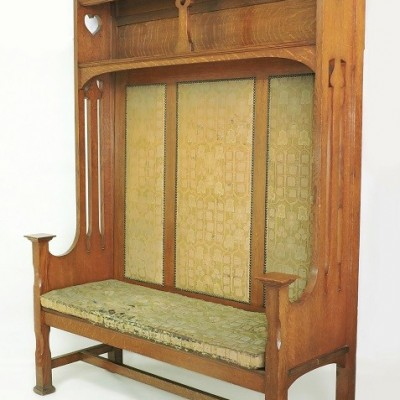 Arts & Crafts settle bench Large, solid oak C1900