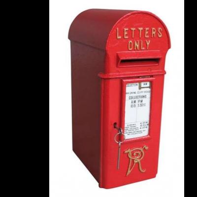 Original VR Cast Iron Pole Mounted Letter Post Box