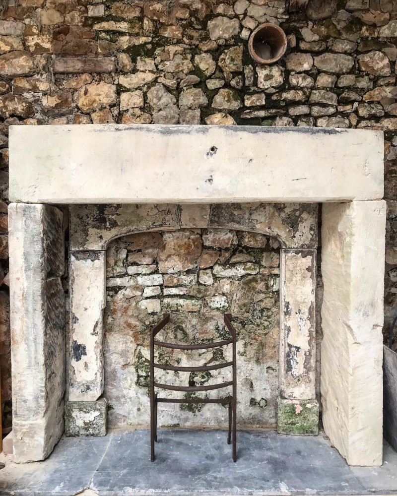 Antique Bath Stone Fireplace