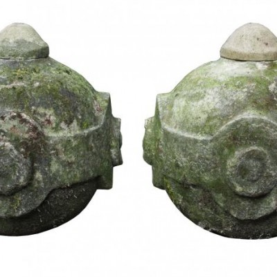 pair of 19th C. Portland stone pier caps / finials