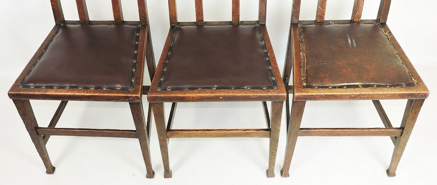 George Montague Ellwood for J.S. Henry 3 x Arts and Crafts chairs oak C1900