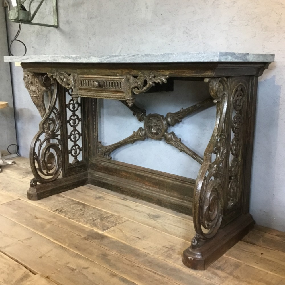Victorian Cast Iron base Console Table
