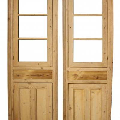 Pair of antique pine cupboard fronts / cupboard doors