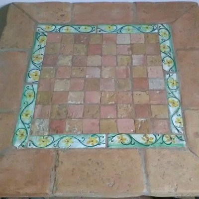 Chess table made with antique Italian tiles