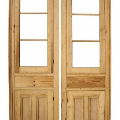 Pair of antique pine cupboard fronts / cupboard doors