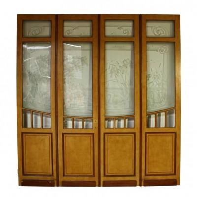 Etched glass room divider C. 1900