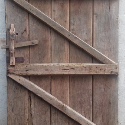 Heavy ledged oak door
