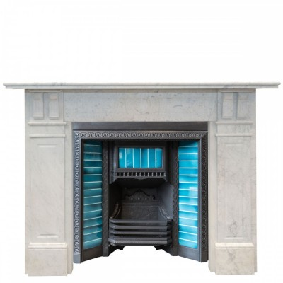 Antique Edwardian Carrara Marble Fireplace Surround