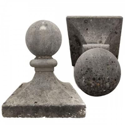 Pair of  Stone Ball Top Pier Caps, Finials, Post Tops