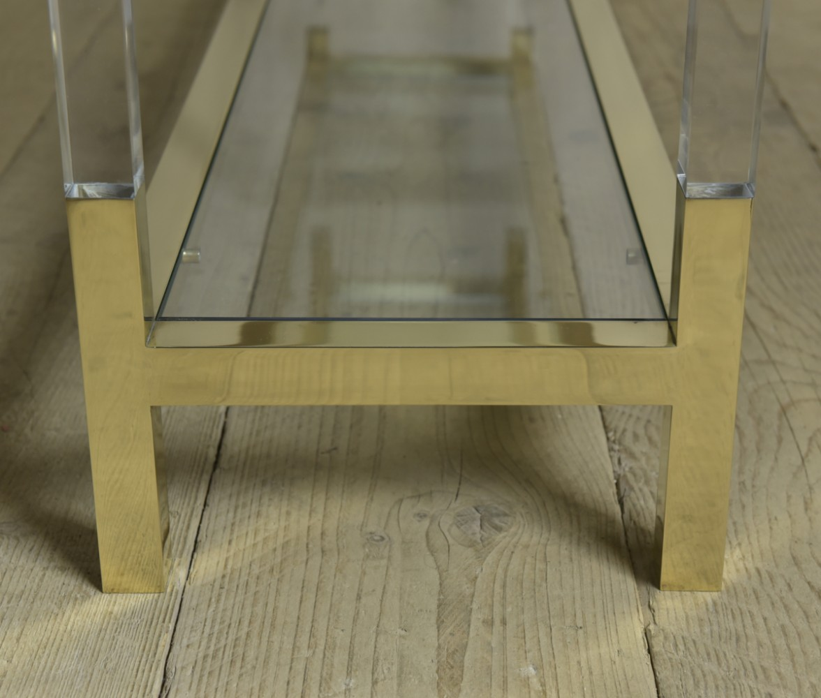 Brass & Lucite Console / Side Table
