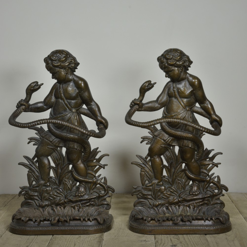 Pair 19th Century Hercules Cast Iron Stick Stands