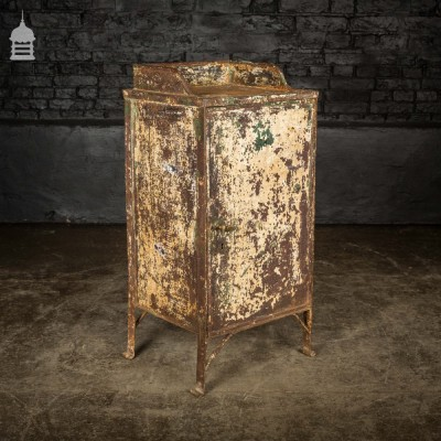 Victorian Industrial Cast Iron Cupboard with Distressed Paint