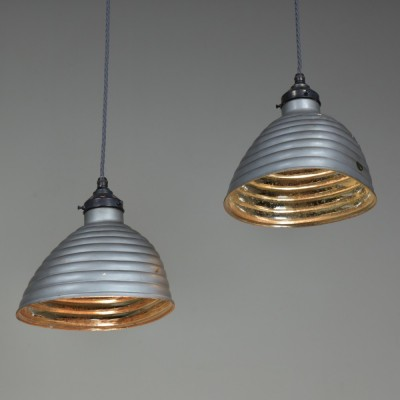 Pair Beehive Silvered  Pendant Shades