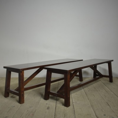 Pair Mahogany Benches / Coffee Tables