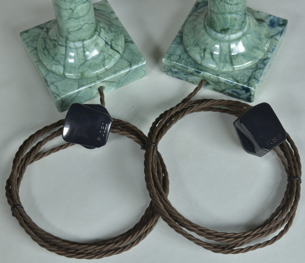 Pair Marble Column Lamps