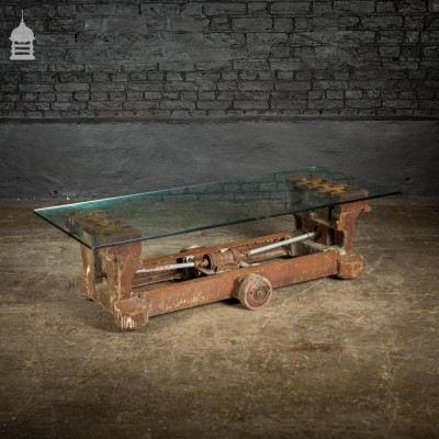 Industrial Cast Iron Factory Machine Trolley with Toughened Glass Coffee Table