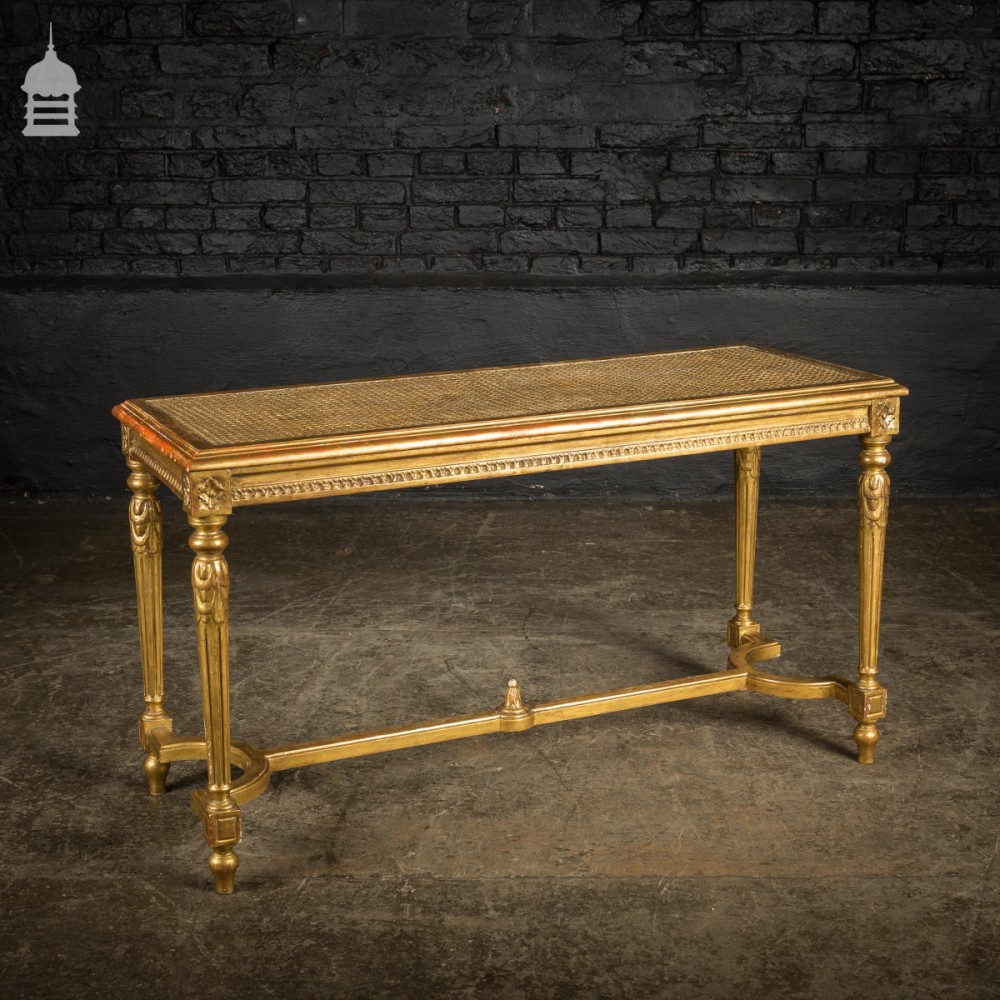 Superb 19Th C Gilded Hall Seat Bench With Reeded Legs Lamtechconsult Wood Chair Design Ideas Lamtechconsultcom